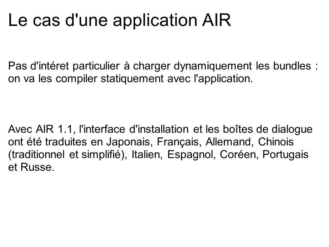 Le cas d'une application AIR Pas d'intéret particulier à charger dynamiquement les bundles : on va les compiler statiquement avec l'application. Avec