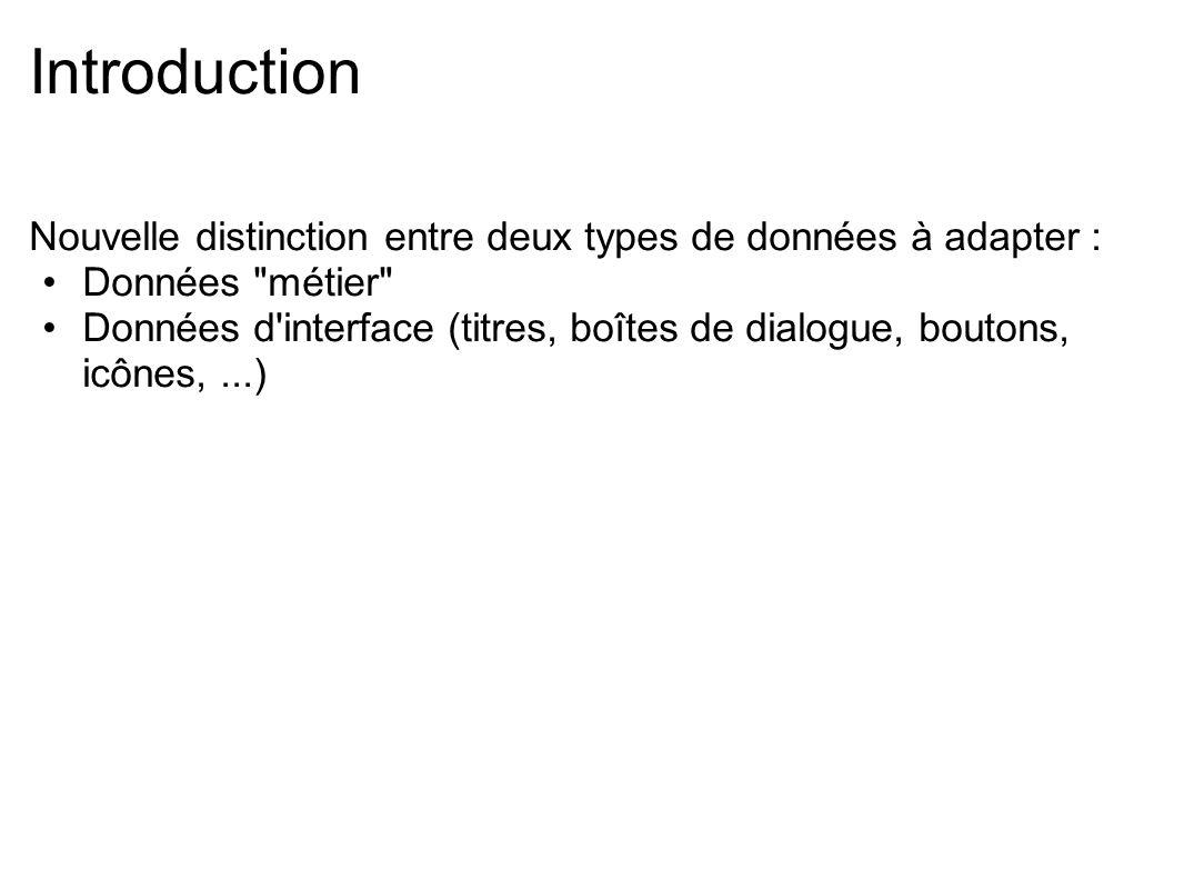 Introduction Nouvelle distinction entre deux types de données à adapter : Données