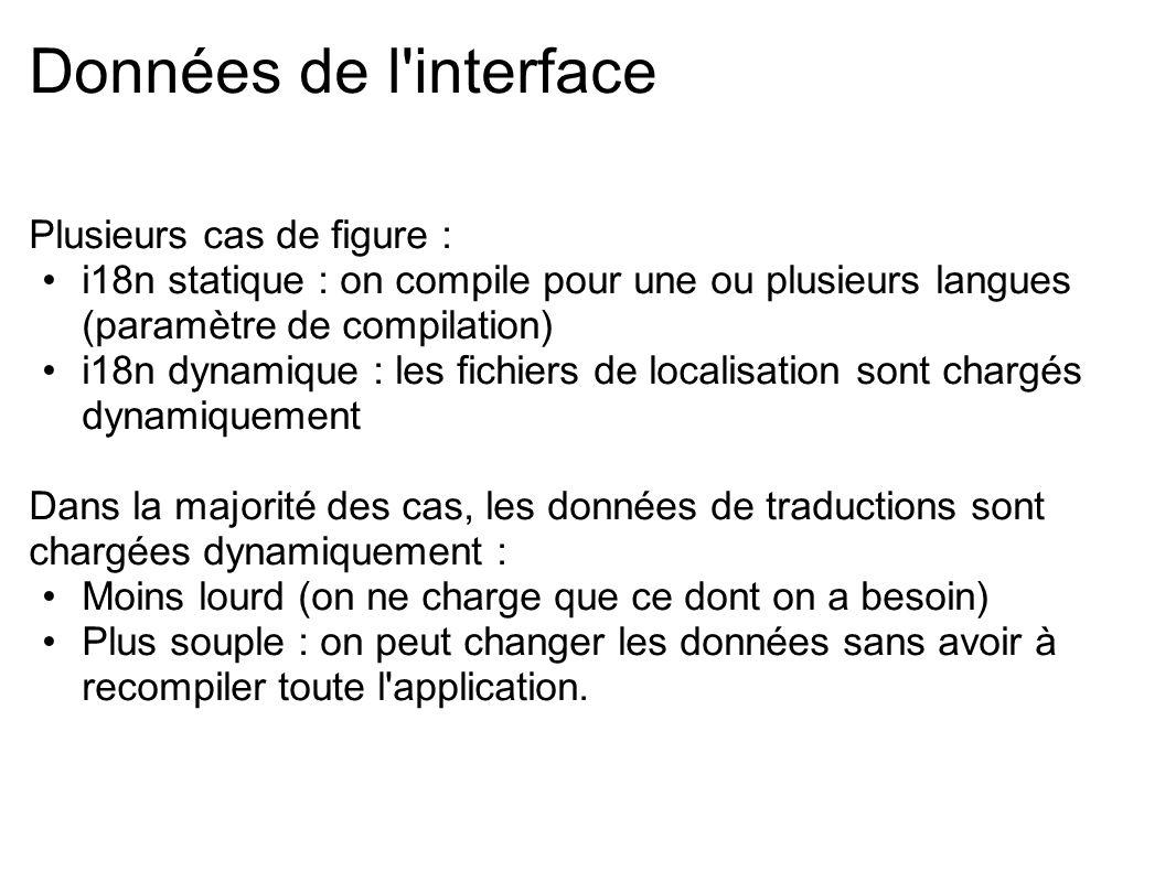 Données de l'interface Plusieurs cas de figure : i18n statique : on compile pour une ou plusieurs langues (paramètre de compilation) i18n dynamique :