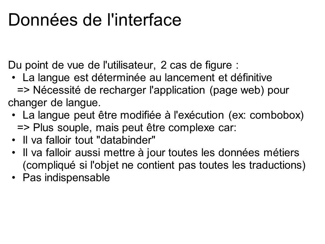 Données de l interface Parfois, la langue désirée est passée en paramètre dans l URL http://www.website.com/page.html?lg= en_US http://www.website.com/page.html#lg= en_US Pour récupérer cette variable : Flashvars var lg:String = application.parameters.lg ; BrowserManager var params:Object = URLUtil.stringToObject(bm.fragment); var lg:String =params.lg;