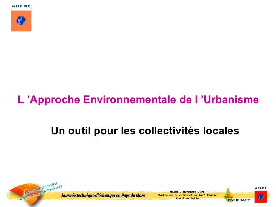 L Approche Environnementale de l Urbanisme Un outil pour les collectivités locales