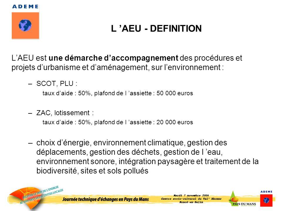 L AEU - DEFINITION LAEU est une démarche daccompagnement des procédures et projets durbanisme et daménagement, sur lenvironnement : –SCOT, PLU : taux