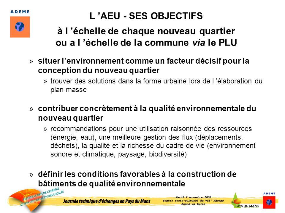 L AEU - SES OBJECTIFS à l échelle de chaque nouveau quartier ou a l échelle de la commune via le PLU »situer lenvironnement comme un facteur décisif p