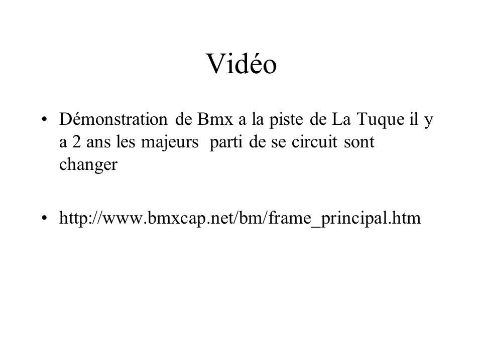 Vidéo Démonstration de Bmx a la piste de La Tuque il y a 2 ans les majeurs parti de se circuit sont changer http://www.bmxcap.net/bm/frame_principal.h