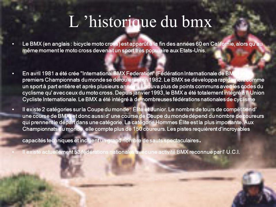 L historique du bmx Le BMX (en anglais : bicycle moto cross) est apparût à la fin des années 60 en Californie, alors qu'au même moment le moto cross d