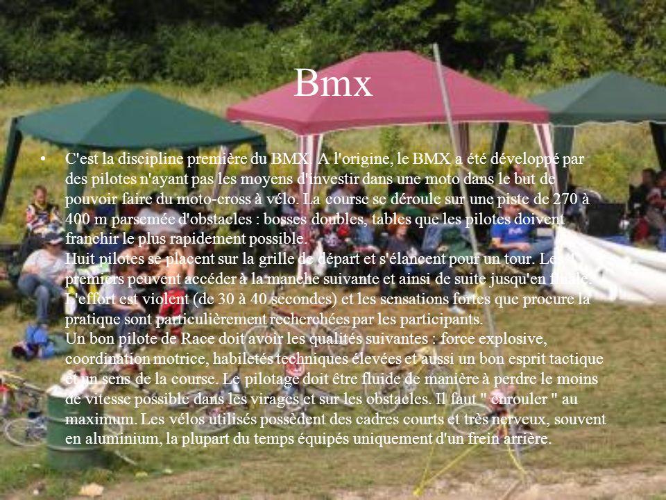 Bmx C'est la discipline première du BMX. A l'origine, le BMX a été développé par des pilotes n'ayant pas les moyens d'investir dans une moto dans le b