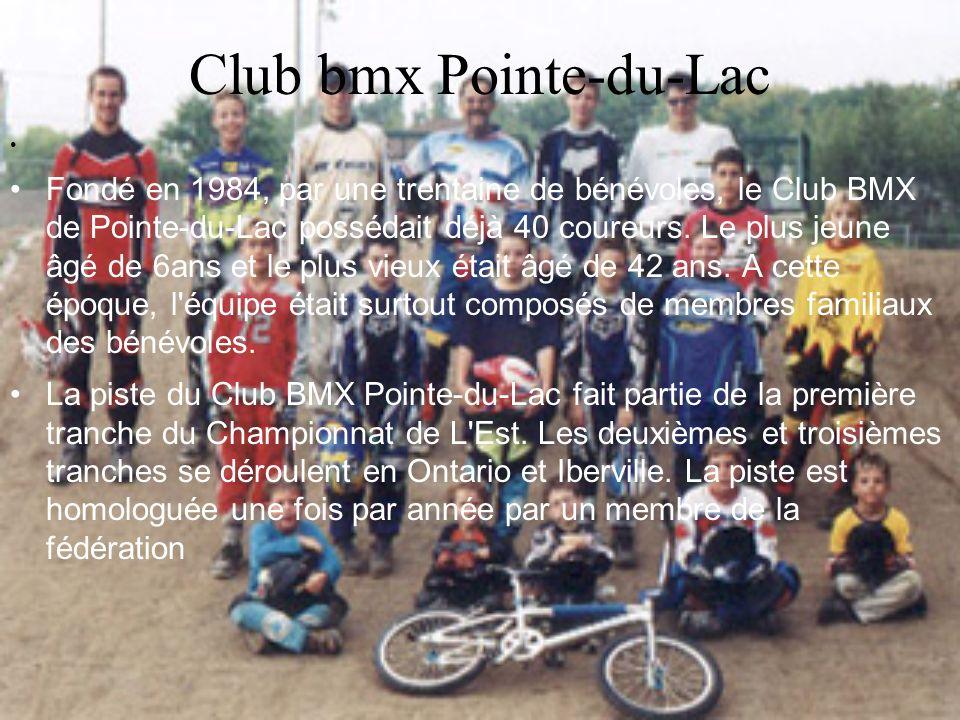 Club bmx Pointe-du-Lac Fondé en 1984, par une trentaine de bénévoles, le Club BMX de Pointe-du-Lac possédait déjà 40 coureurs. Le plus jeune âgé de 6a