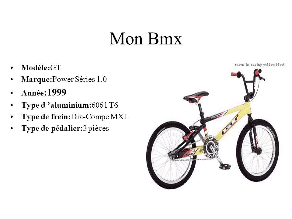 Mon Bmx Modèle:GT Marque:Power Séries 1.0 Année :1999 Type d aluminium:6061 T6 Type de frein:Dia-Compe MX1 Type de pédalier:3 pièces