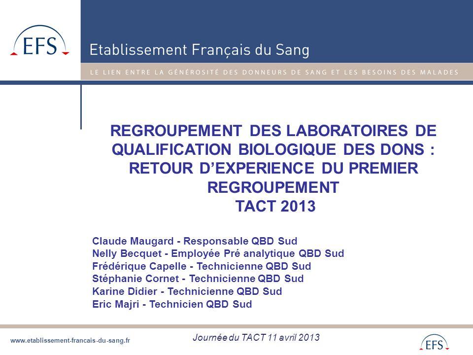 www.etablissement-francais-du-sang.fr REGROUPEMENT DES LABORATOIRES DE QUALIFICATION BIOLOGIQUE DES DONS : RETOUR DEXPERIENCE DU PREMIER REGROUPEMENT
