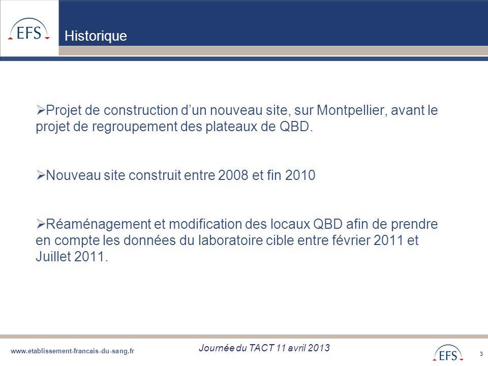 www.etablissement-francais-du-sang.fr Projet de Regroupement QBD Bilan regroupement QBD zone Sud du 05/09/12 3 Historique Projet de construction dun n