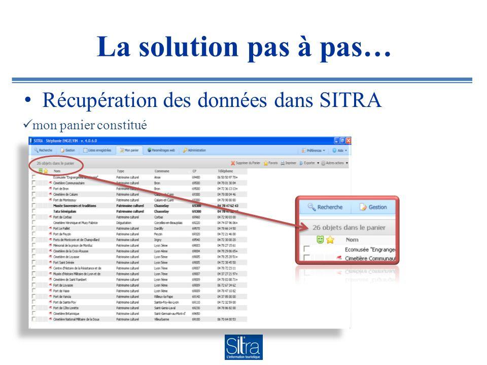 La solution pas à pas… Récupération des données dans SITRA mon panier constitué