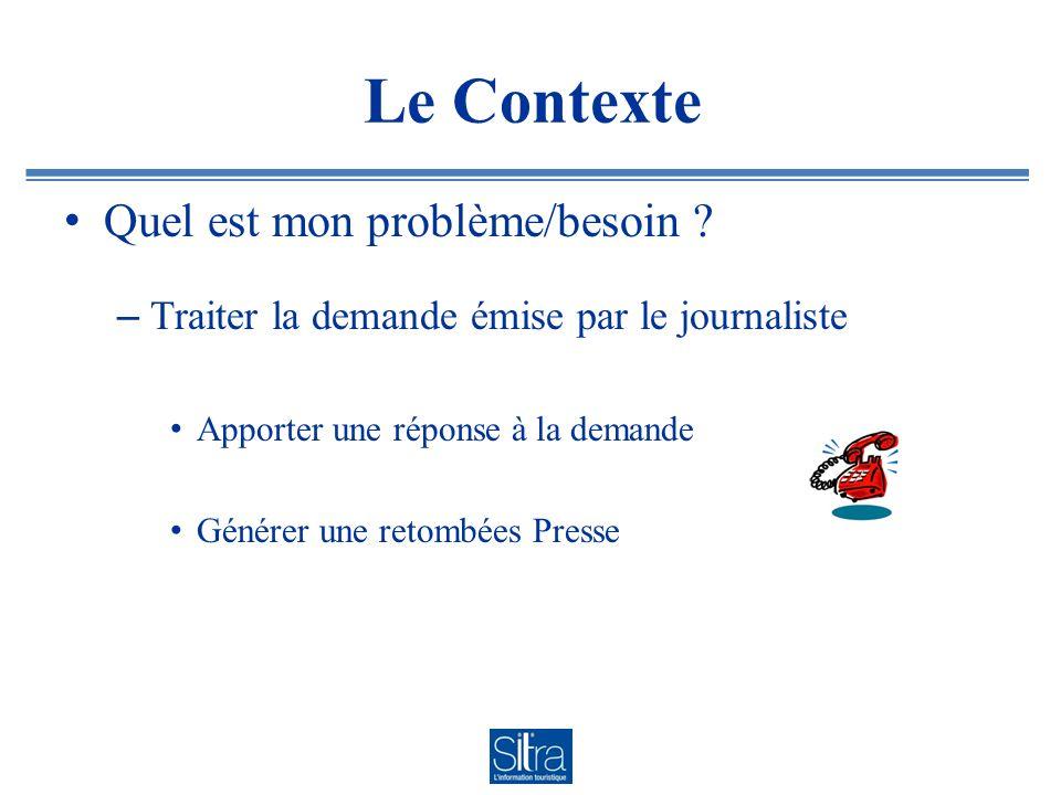 Le Contexte Quel est mon problème/besoin ? – Traiter la demande émise par le journaliste Apporter une réponse à la demande Générer une retombées Press
