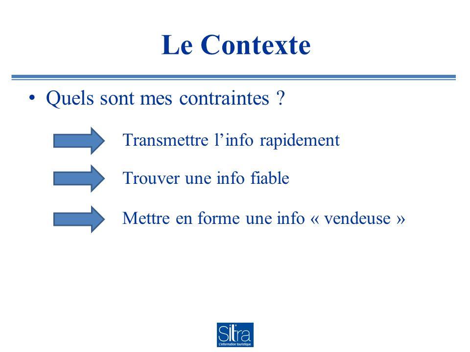 Le Contexte Quels sont mes contraintes ? Transmettre linfo rapidement Trouver une info fiable Mettre en forme une info « vendeuse »