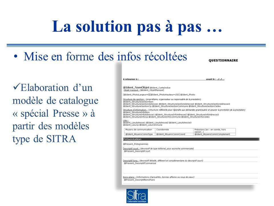 La solution pas à pas … Mise en forme des infos récoltées Elaboration dun modèle de catalogue « spécial Presse » à partir des modèles type de SITRA