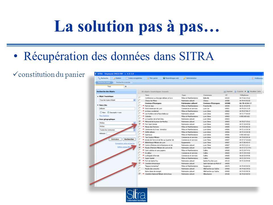 La solution pas à pas… Récupération des données dans SITRA constitution du panier