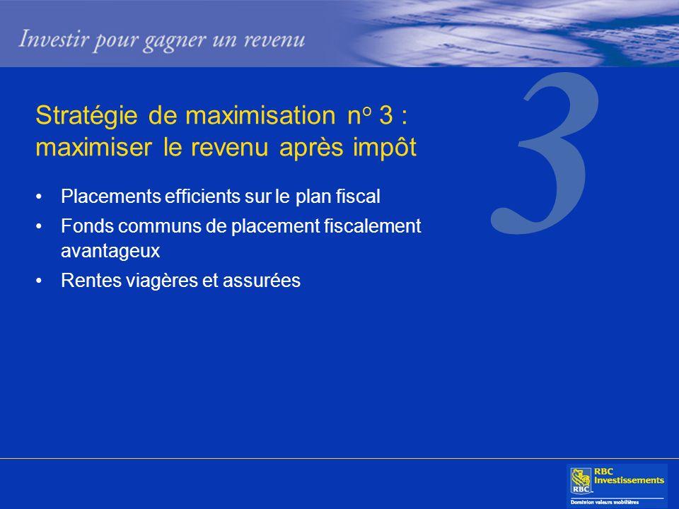 Stratégie de maximisation n o 3 : maximiser le revenu après impôt Placements efficients sur le plan fiscal Fonds communs de placement fiscalement avan