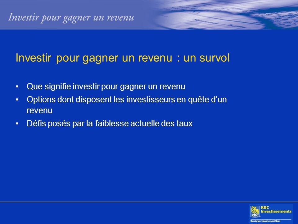 Investir pour gagner un revenu : un survol Que signifie investir pour gagner un revenu Options dont disposent les investisseurs en quête dun revenu Dé