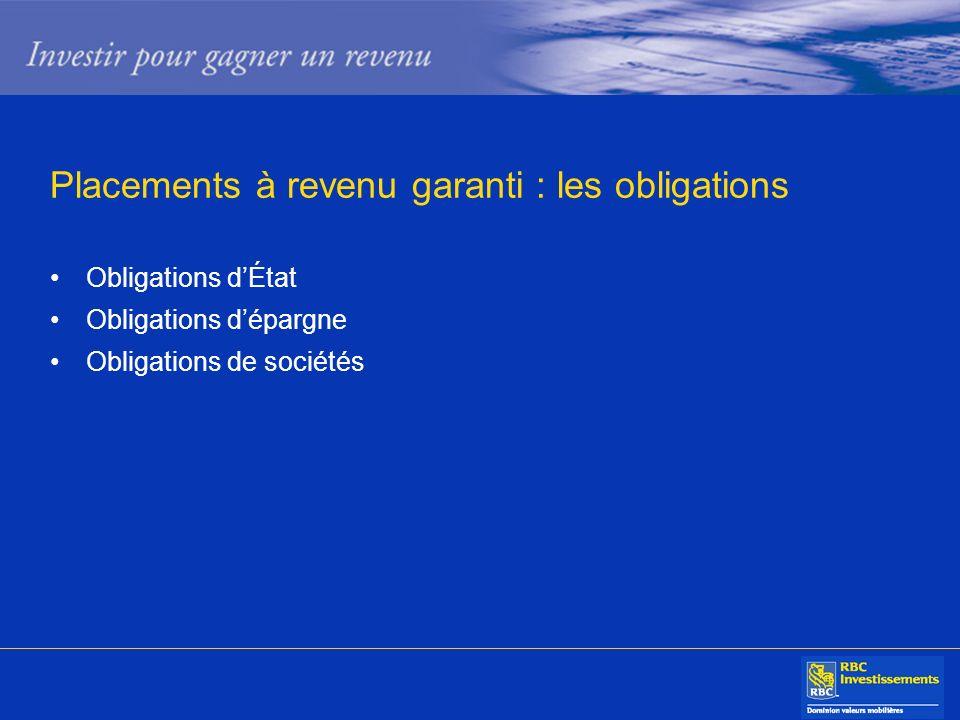 Placements à revenu garanti : les obligations Obligations dÉtat Obligations dépargne Obligations de sociétés