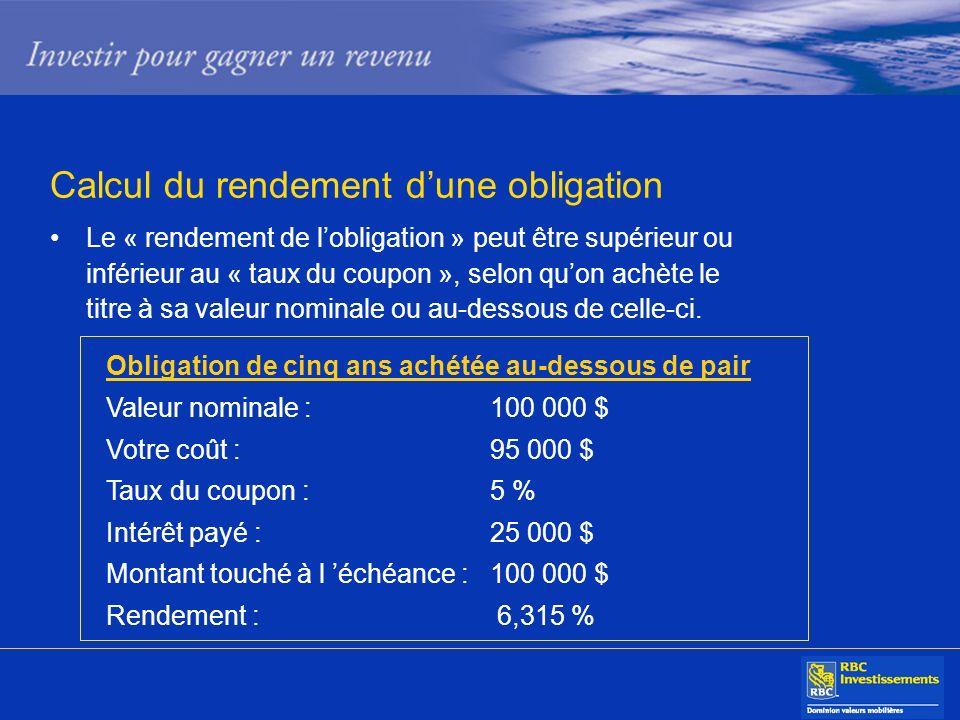Calcul du rendement dune obligation Le « rendement de lobligation » peut être supérieur ou inférieur au « taux du coupon », selon quon achète le titre