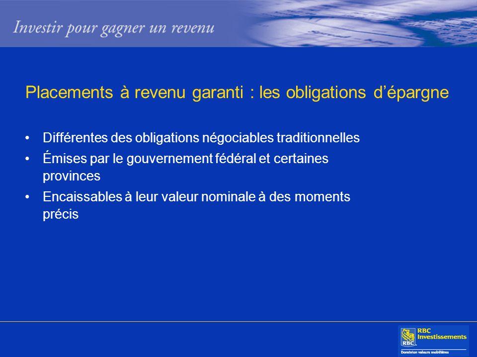 Différentes des obligations négociables traditionnelles Émises par le gouvernement fédéral et certaines provinces Encaissables à leur valeur nominale
