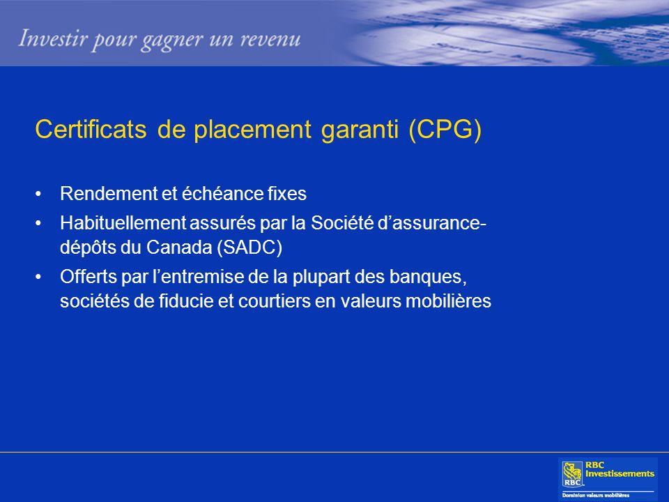 Certificats de placement garanti (CPG) Rendement et échéance fixes Habituellement assurés par la Société dassurance- dépôts du Canada (SADC) Offerts p