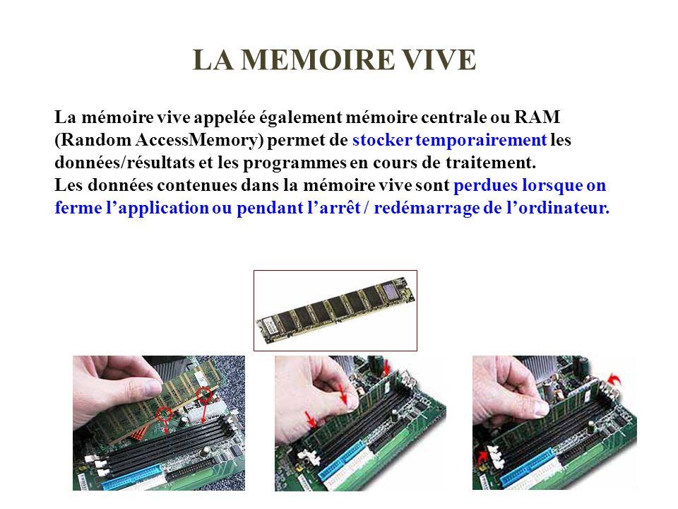 2008/20094 LA MEMOIRE VIVE La mémoire vive appelée également mémoire centrale ou RAM (Random AccessMemory) permet de stocker temporairement les donnée