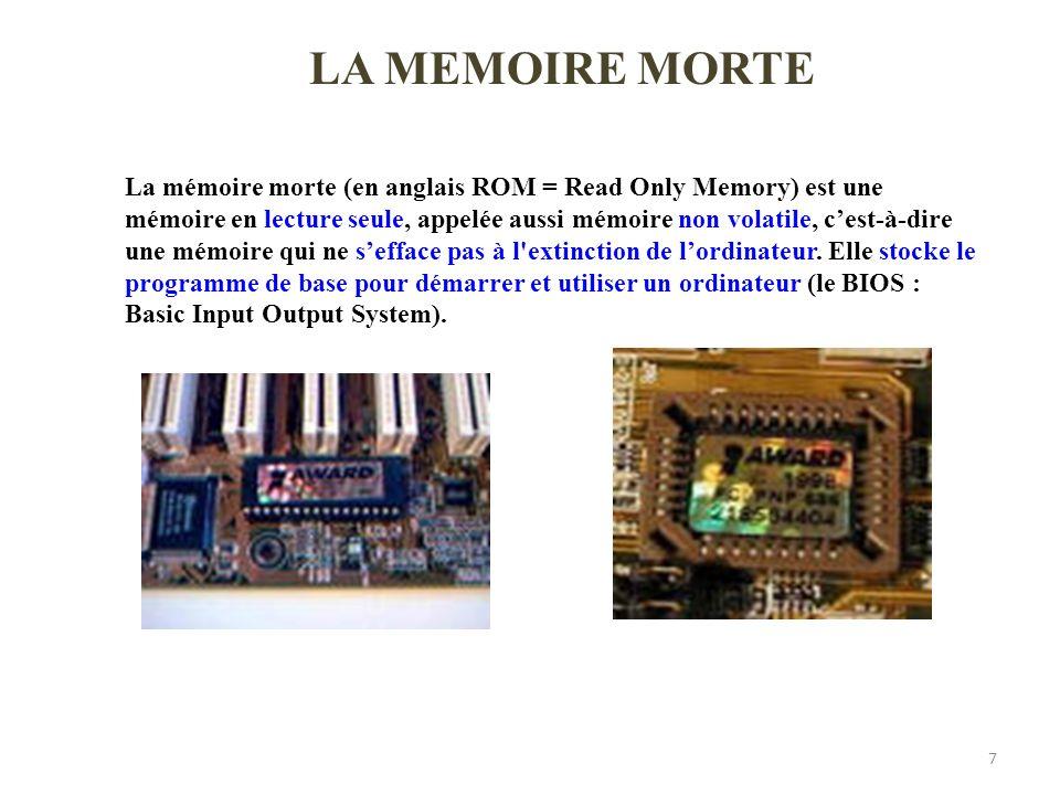 7 La mémoire morte (en anglais ROM = Read Only Memory) est une mémoire en lecture seule, appelée aussi mémoire non volatile, cest-à-dire une mémoire q