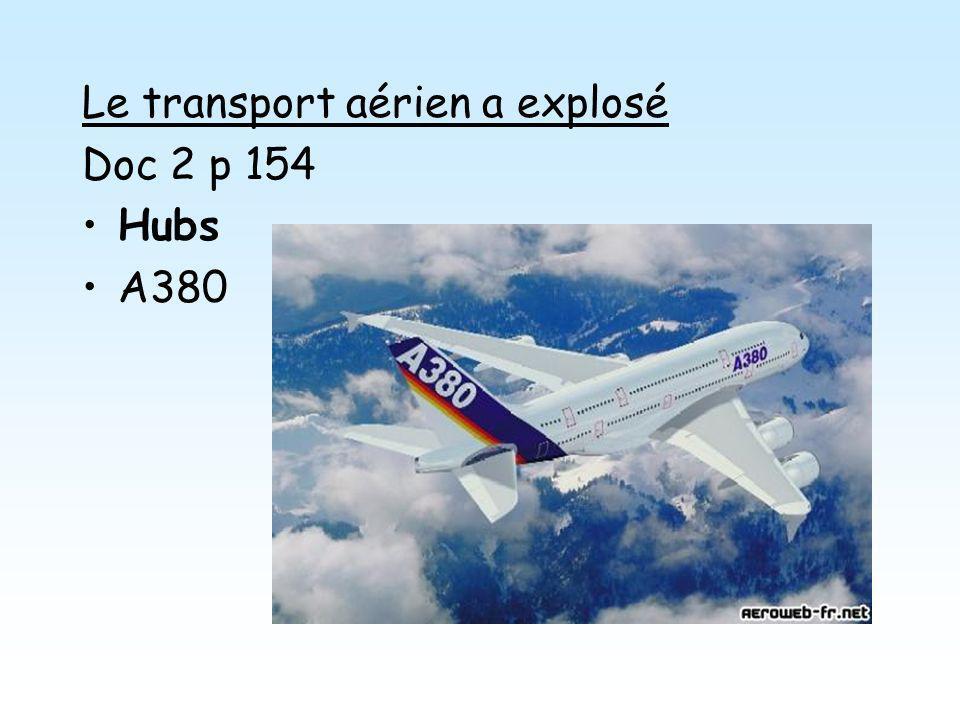 Le transport aérien a explosé Doc 2 p 154 Hubs A380