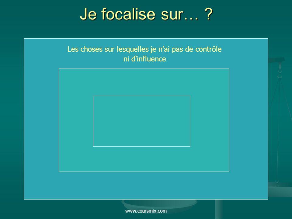 www.coursmix.com Je focalise sur… ? Les choses sur lesquelles je nai pas de contrôle ni dinfluence