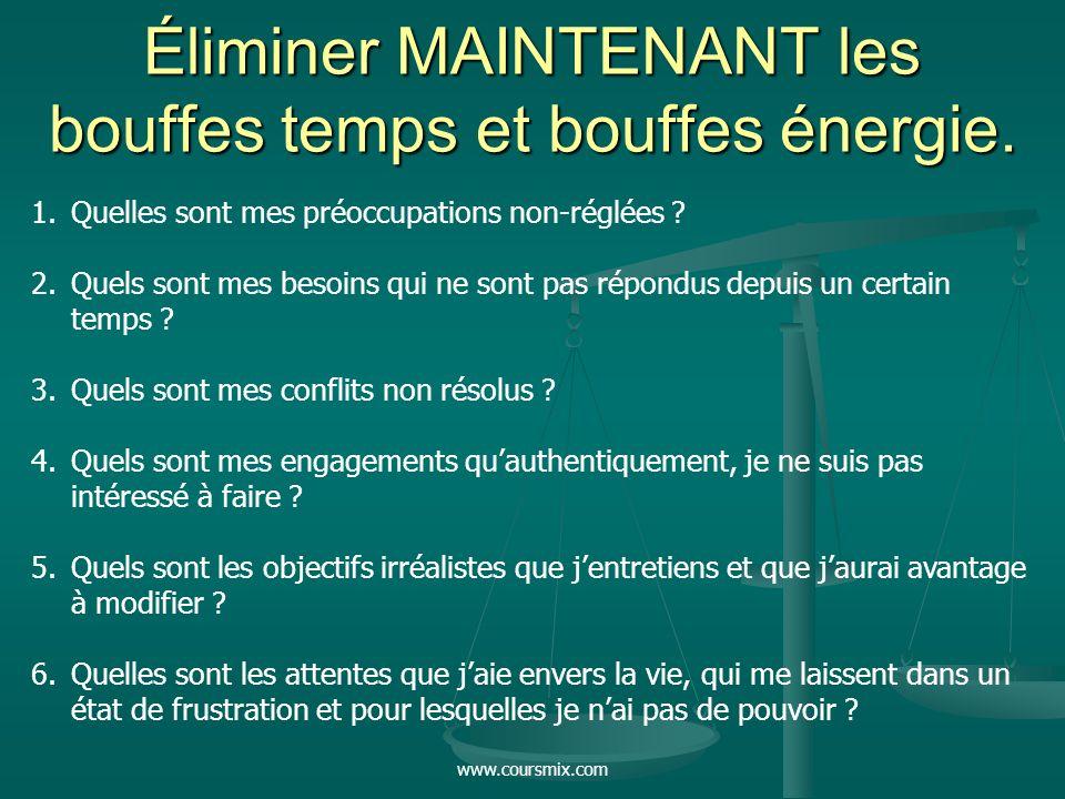 www.coursmix.com Éliminer MAINTENANT les bouffes temps et bouffes énergie. 1.Quelles sont mes préoccupations non-réglées ? 2.Quels sont mes besoins qu