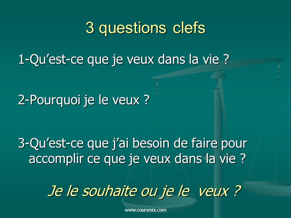 www.coursmix.com 3 questions clefs 1-Quest-ce que je veux dans la vie ? 2-Pourquoi je le veux ? 3-Quest-ce que jai besoin de faire pour accomplir ce q