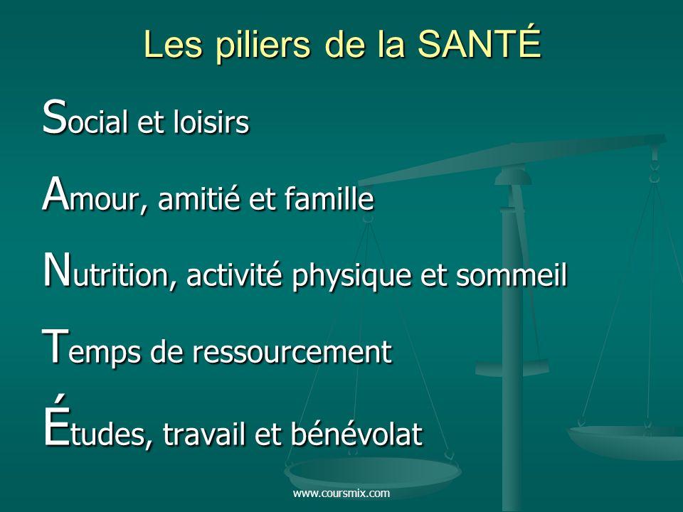 www.coursmix.com Les piliers de la SANTÉ S ocial et loisirs A mour, amitié et famille N utrition, activité physique et sommeil T emps de ressourcement