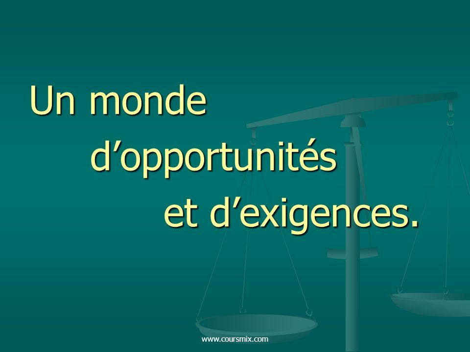www.coursmix.com Un monde dopportunités dopportunités et dexigences. et dexigences.