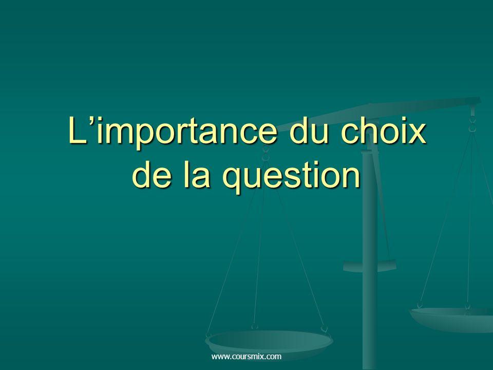 www.coursmix.com Limportance du choix de la question