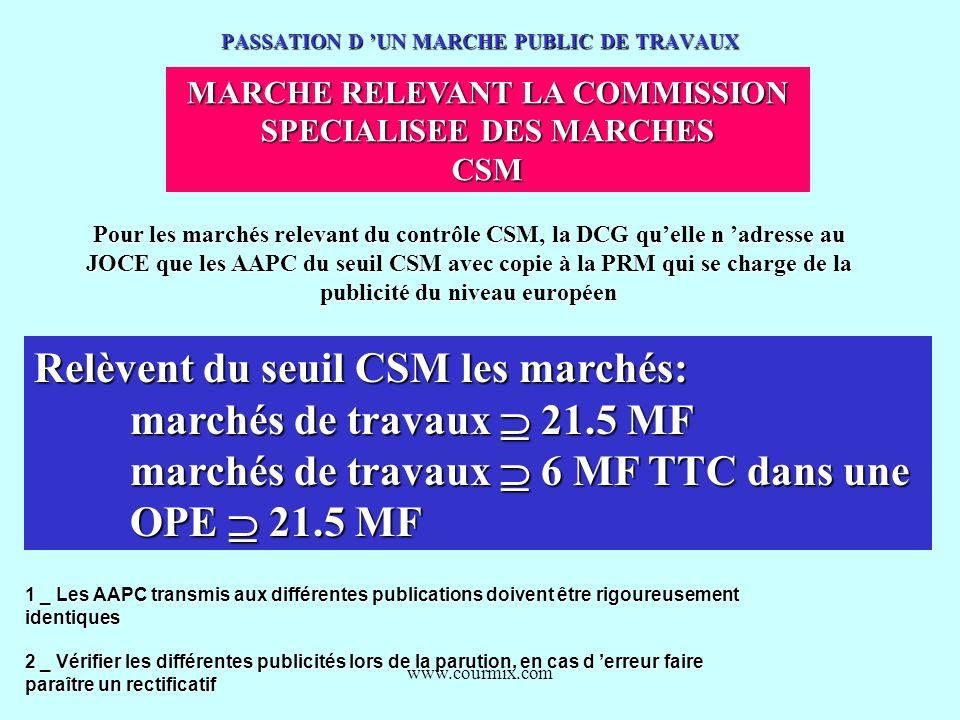 www.courmix.com PASSATION D UN MARCHE PUBLIC DE TRAVAUX MARCHE RELEVANT LA COMMISSION MARCHE RELEVANT LA COMMISSION SPECIALISEE DES MARCHES CSM Pour l