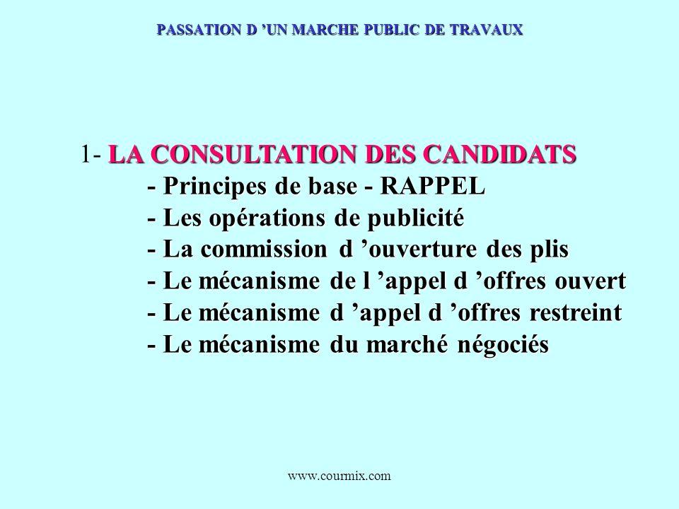 www.courmix.com PASSATION D UN MARCHE PUBLIC DE TRAVAUX LA CONSULTATION DES CANDIDATS 1- LA CONSULTATION DES CANDIDATS - Principes de base - RAPPEL -