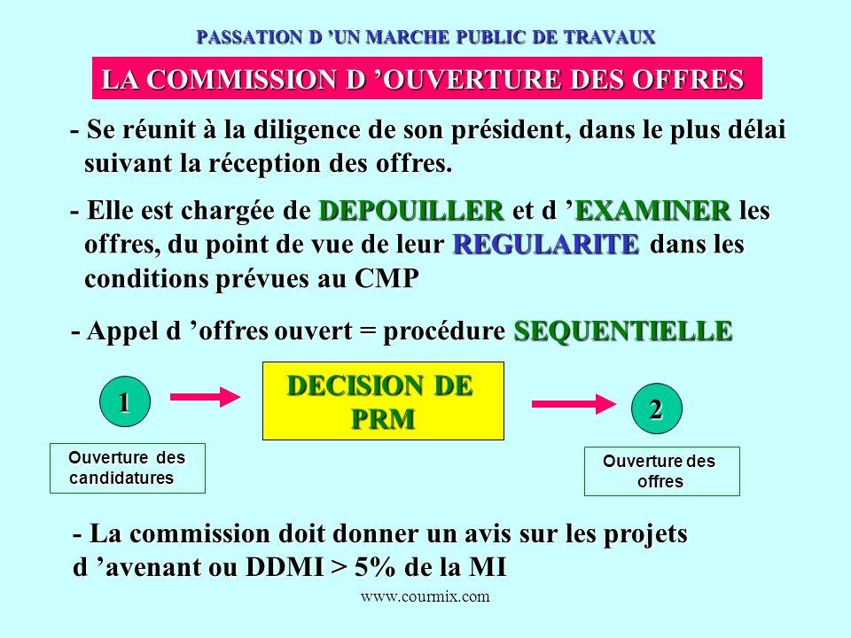 www.courmix.com PASSATION D UN MARCHE PUBLIC DE TRAVAUX LA COMMISSION D OUVERTURE DES OFFRES - Se réunit à la diligence de son président, dans le plus