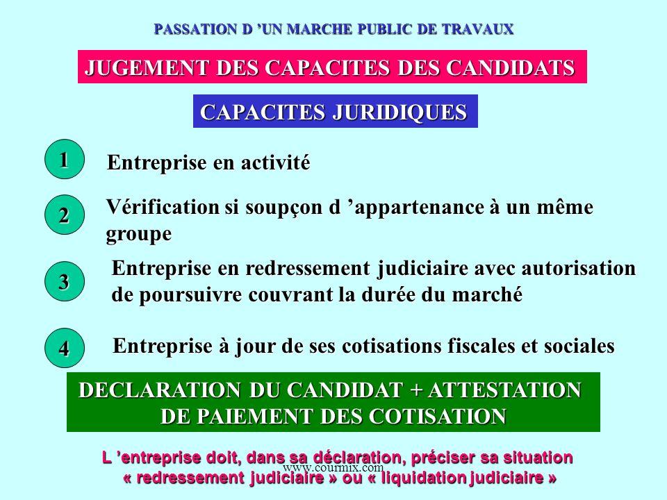 www.courmix.com PASSATION D UN MARCHE PUBLIC DE TRAVAUX JUGEMENT DES CAPACITES DES CANDIDATS CAPACITES JURIDIQUES 1 2 3 4 Entreprise en activité Vérif