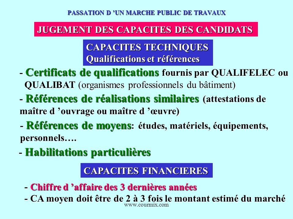 www.courmix.com PASSATION D UN MARCHE PUBLIC DE TRAVAUX JUGEMENT DES CAPACITES DES CANDIDATS CAPACITES TECHNIQUES Qualifications et références - Certi