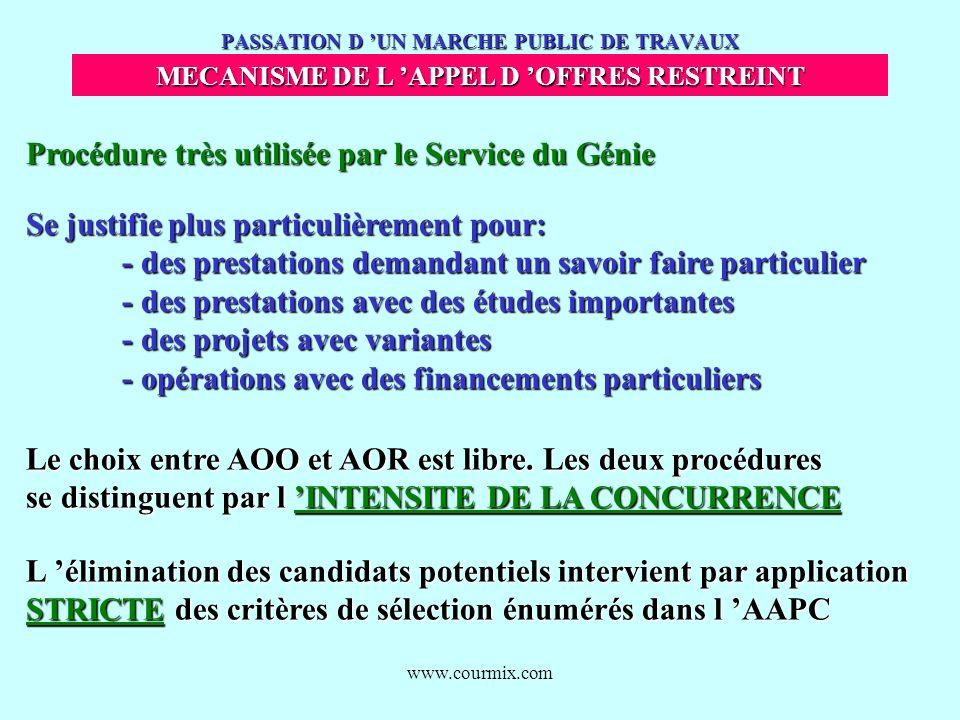 www.courmix.com PASSATION D UN MARCHE PUBLIC DE TRAVAUX MECANISME DE L APPEL D OFFRES RESTREINT Procédure très utilisée par le Service du Génie Se jus