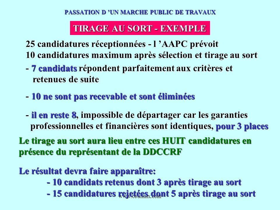 www.courmix.com PASSATION D UN MARCHE PUBLIC DE TRAVAUX TIRAGE AU SORT - EXEMPLE 25 candidatures réceptionnées - l AAPC prévoit 10 candidatures maximu