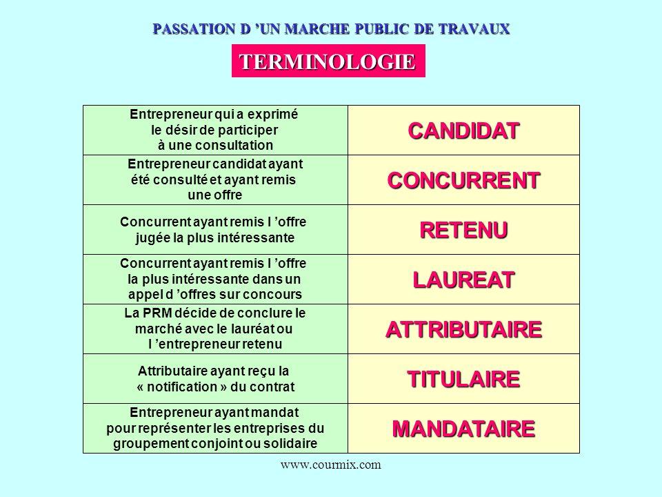 www.courmix.com PASSATION D UN MARCHE PUBLIC DE TRAVAUX TERMINOLOGIE Entrepreneur qui a exprimé le désir de participer à une consultationCANDIDAT Entr