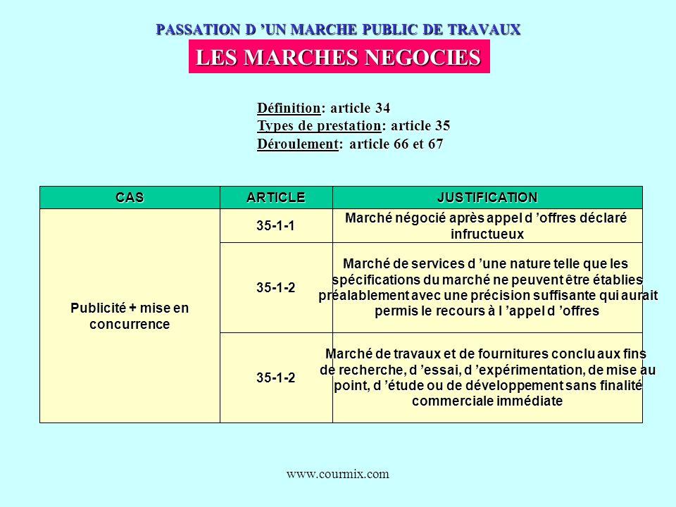 www.courmix.com PASSATION D UN MARCHE PUBLIC DE TRAVAUX LES MARCHES NEGOCIES Définition: article 34 Types de prestation: article 35 Déroulement: artic