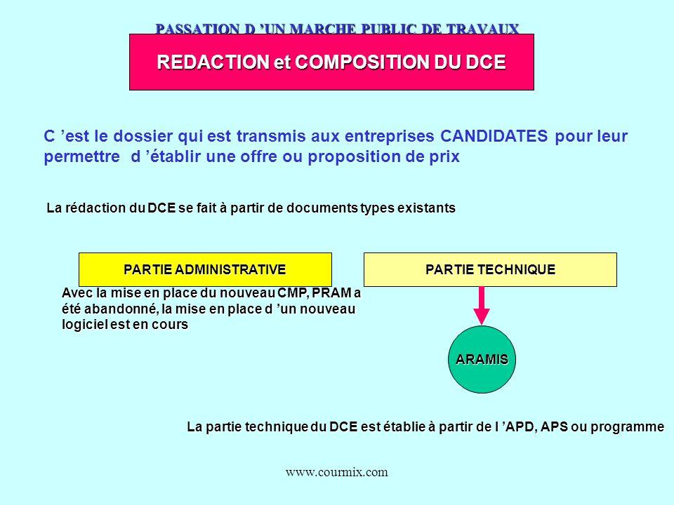 www.courmix.com PASSATION D UN MARCHE PUBLIC DE TRAVAUX REDACTION et COMPOSITION DU DCE C est le dossier qui est transmis aux entreprises CANDIDATES p