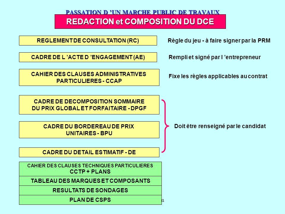 www.courmix.com PASSATION D UN MARCHE PUBLIC DE TRAVAUX REDACTION et COMPOSITION DU DCE CAHIER DES CLAUSES TECHNIQUES PARTICULIERES CCTP + PLANS TABLE