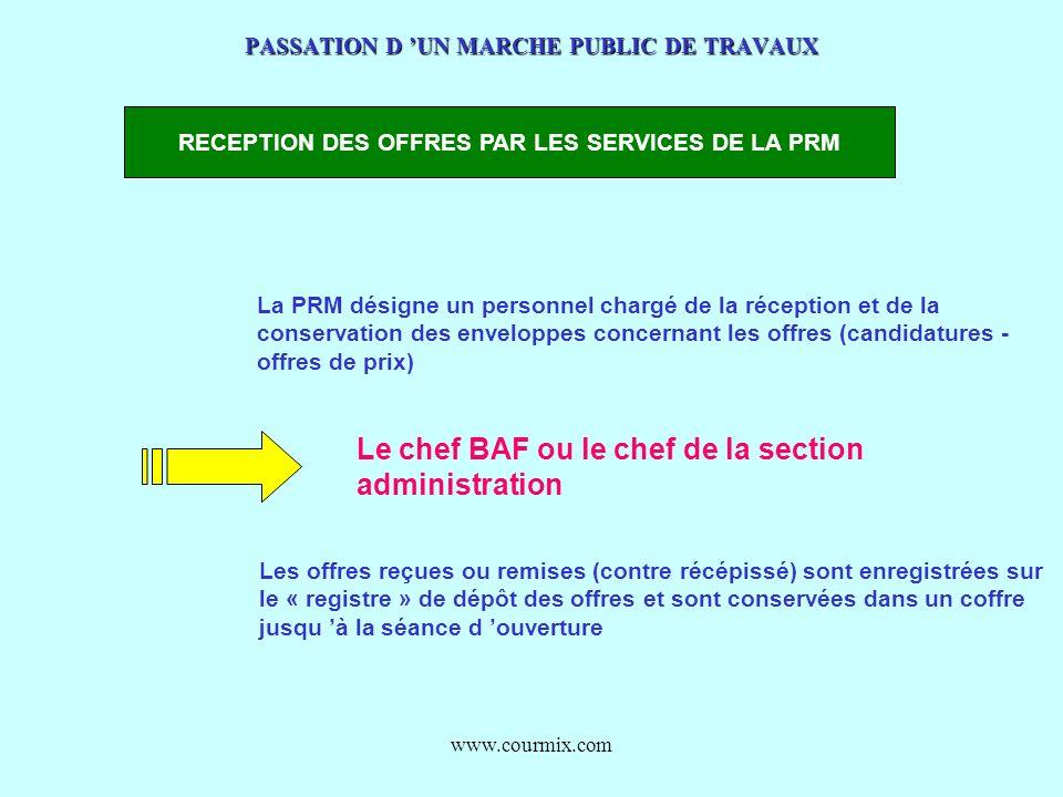 www.courmix.com PASSATION D UN MARCHE PUBLIC DE TRAVAUX RECEPTION DES OFFRES PAR LES SERVICES DE LA PRM La PRM désigne un personnel chargé de la récep