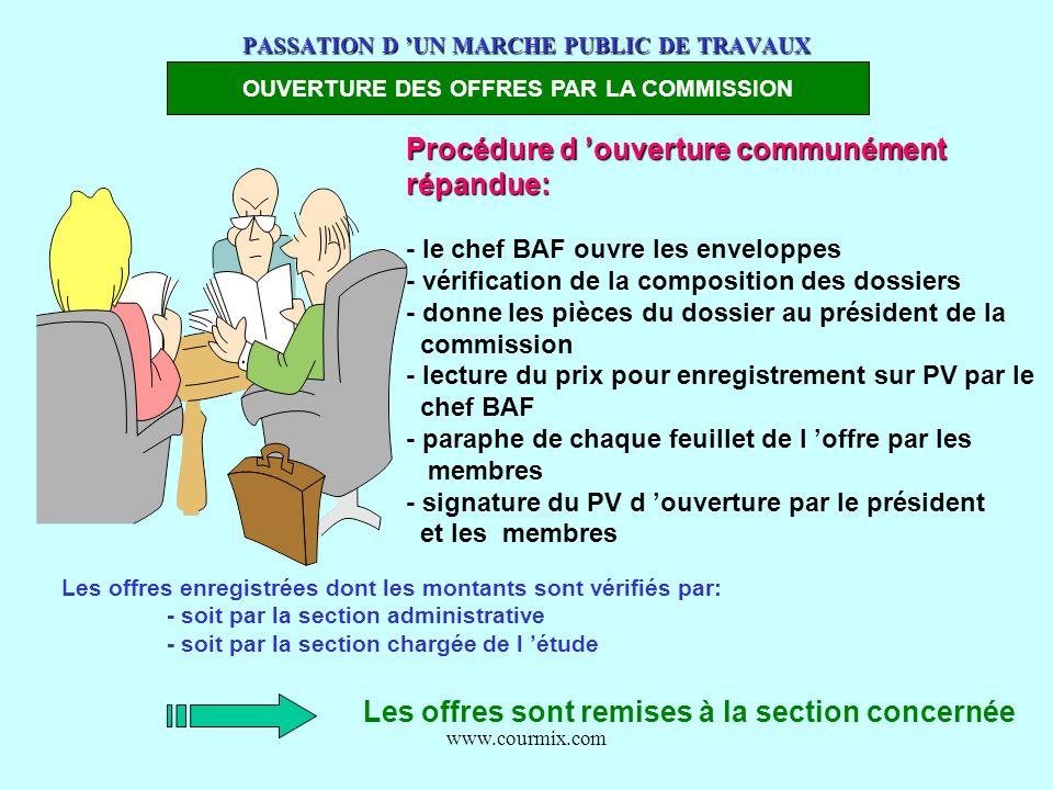 www.courmix.com PASSATION D UN MARCHE PUBLIC DE TRAVAUX OUVERTURE DES OFFRES PAR LA COMMISSION Procédure d ouverture communément répandue: - le chef B