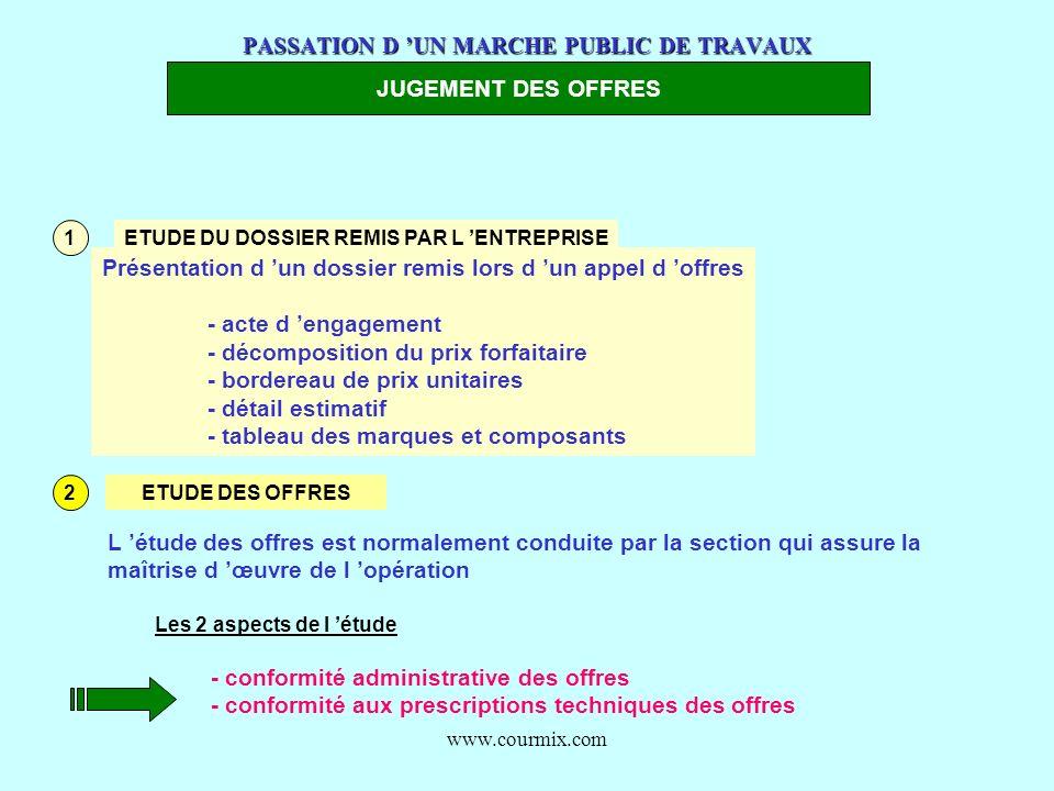www.courmix.com PASSATION D UN MARCHE PUBLIC DE TRAVAUX JUGEMENT DES OFFRES 1 ETUDE DU DOSSIER REMIS PAR L ENTREPRISE Présentation d un dossier remis