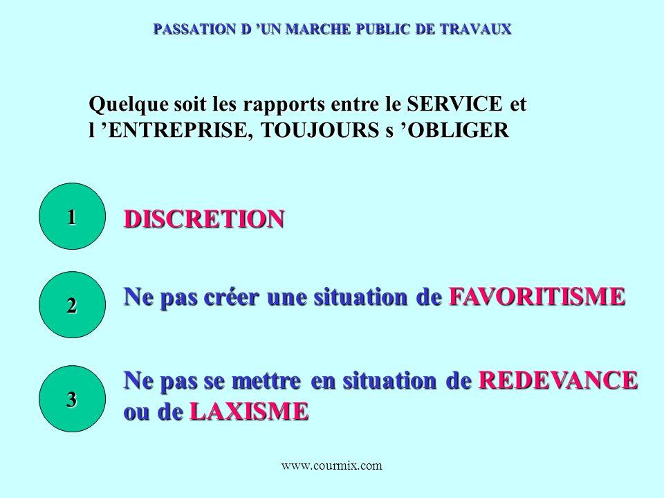 www.courmix.com PASSATION D UN MARCHE PUBLIC DE TRAVAUX Quelque soit les rapports entre le SERVICE et l ENTREPRISE, TOUJOURS s OBLIGER 1 DISCRETION 2