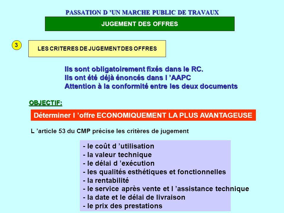 www.courmix.com PASSATION D UN MARCHE PUBLIC DE TRAVAUX JUGEMENT DES OFFRES 3 LES CRITERES DE JUGEMENT DES OFFRES Ils sont obligatoirement fixés dans